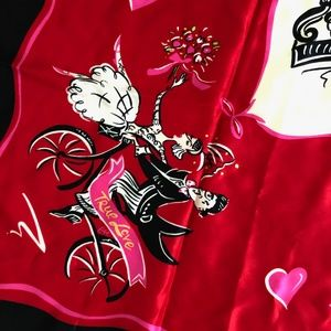 Dkny Accessories - DKNY Silk Scarf Red Cafe D'Amour 35in Love Theme